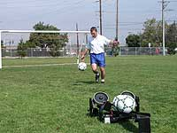 soccer training with ball machine